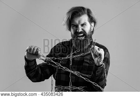 Suffering Man Chained Feel Cramps And Muscle Spasms, Almost Free