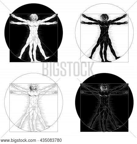 Vector Design Of Vitruvian Man Original Work Leonardo Da Vinci In Black And White