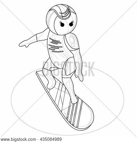 Vector Image Of A Stylized Image Of A Young Man On A Surfboard. Outline Style. Isolated Over White B