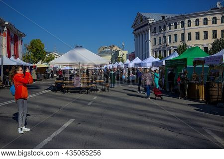Kyiv, Ukraine - October 2, 2021: Fair For Traditional Crafts And Street Food In The Town Square. The