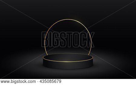 Luxury Black Podium With Golden Circle. 3d Cylinder With Gold Line. Dark Minimalist Elegant Template