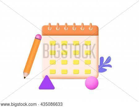 Calendar Assignment Icon. Realistic Sticker With Dates, Pencil And Geometric Shapes. Planning Of Wor