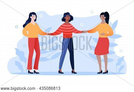 Strong Entrepreneurial Females. Psychological Support Concept, Reliable Friends. Girlfriends Walking