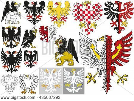 Big Set Of Heraldic Eagles - Black And White Illustrations And Colored Illustrations Isolated On Whi