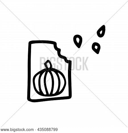 Doodle Pumpkin Seeds Stock Vector Illustration. Simple Pumpkin Seeds Isolated On White Background. F
