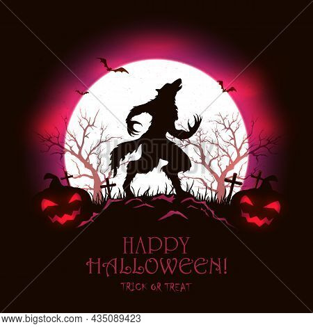 Lettering Happy Halloween With Scary Werewolf In Cemetery And Pumpkins On Red Moon Background. Illus