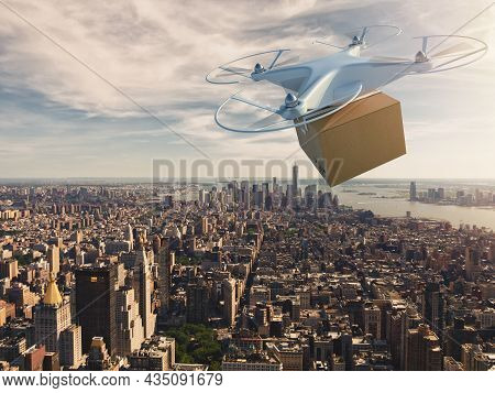 Uav Drone Flying Over The City To Deliver A Shipment