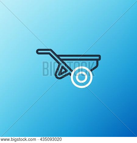 Line Wheelbarrow With Dirt Icon Isolated On Blue Background. Tool Equipment. Agriculture Cart Wheel