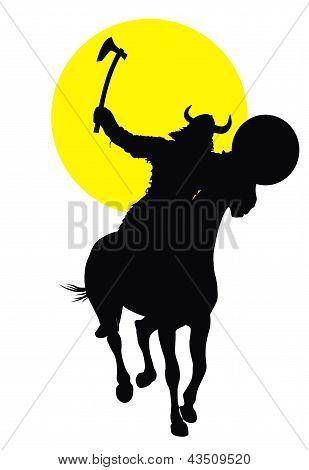 Viking with axe on horseback detailed vector silhouette poster