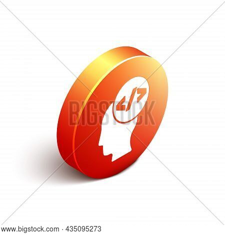 Isometric Web Design And Front End Development Icon Isolated On White Background. Orange Circle Butt