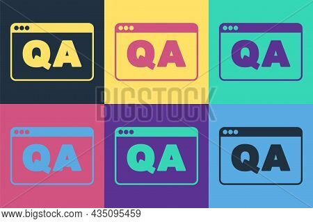 Pop Art Speech Bubbles With Question And Answer Icon Isolated On Color Background. Q And A Symbol. F