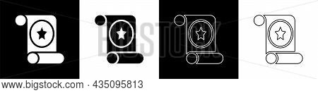Set Magic Scroll Icon Isolated On Black And White Background. Decree, Paper, Parchment, Scroll Icon.