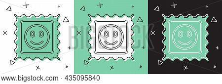 Set Lsd Acid Mark Icon Isolated On White And Green, Black Background. Acid Narcotic. Postmark. Posta