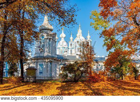 Smolny Monastery In Autumn, Saint Petersburg, Russia