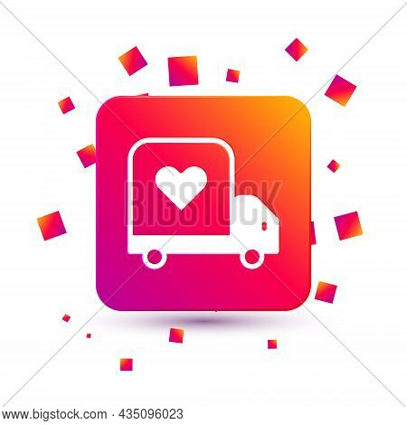 White Delivery Truck With Heart Icon Isolated On White Background. Love Delivery Truck. Love Truck V