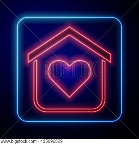 Glowing Neon Shelter For Homeless Icon Isolated On Black Background. Emergency Housing, Temporary Re
