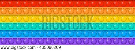 Popit Vector Toy Seamless Pattern, Rainbow Push Bubbles, Sensory Game, Fidget Backgroun. Antistress