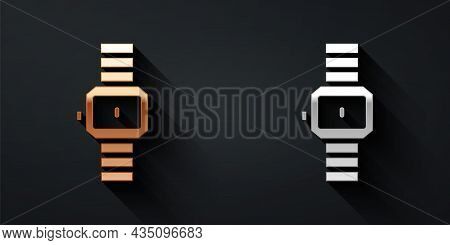 Gold And Silver Wrist Watch Icon Isolated On Black Background. Wristwatch Icon. Long Shadow Style. V