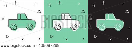 Set Pickup Truck Icon Isolated On White And Green, Black Background. Vector