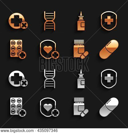 Set Shield And Heart Rate, Medical Shield With Cross, Medicine Pill Or Tablet, Bottle Pills, Pills B
