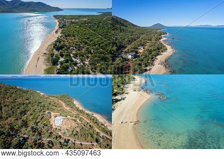 Collage Of Four Images Of A Tropical Coastline With The Sun Shining On The Water And Deep Colors Of