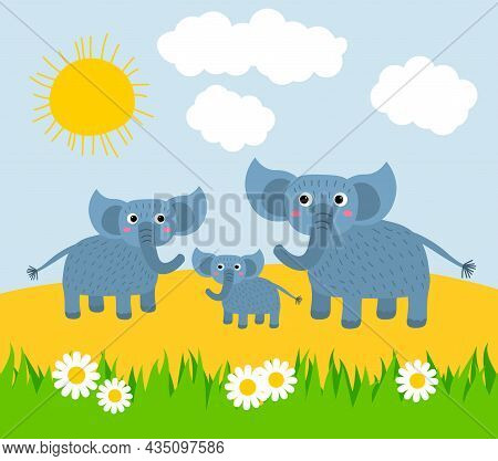 Cute Cartoon Happy Family Of Elephants Basking In The Sun On A Lawn With Grass And Daisies. Africa N