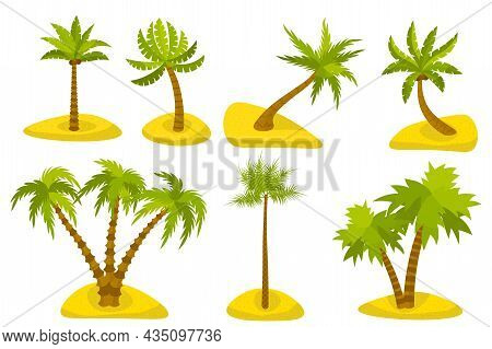 Cute Cartoon Palm On Island Set Isolated On White Background. Exotic Trees In Desert In Flat Style.