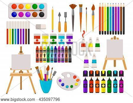 Cute Set Of Art Supplies In Flat Style Isolated. Watercolor Paint Ant Color Pencils, Markers And Bru