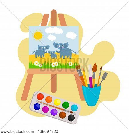 Painting On An Easel: A Herd Of Elephants Graze On A Sunny Day. Drawing Lesson. Paints, Brushes And