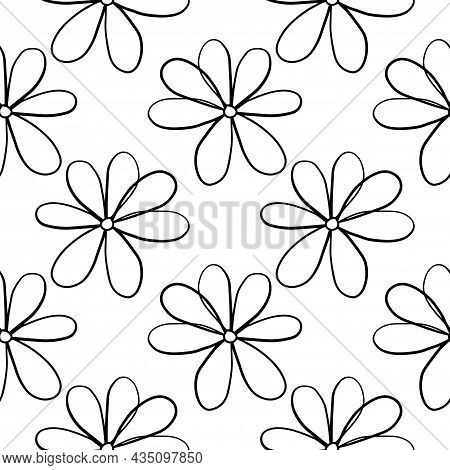 Abstract Colorful Doodle Daisy Flower Seamless Pattern. Cute Thin Line Floral Background.