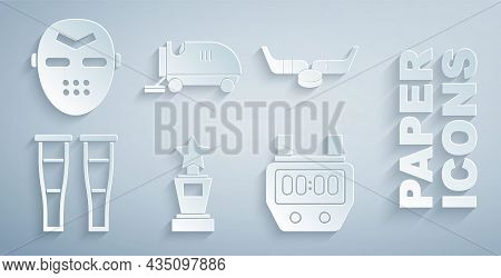 Set Award Cup, Ice Hockey Sticks And Puck, Crutch Or Crutches, Stopwatch, Resurfacer And Hockey Mask