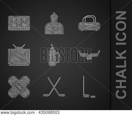 Set Fitness Shaker, Ice Hockey Sticks, And Puck, Crossed Bandage Plaster, Retro Tv, Sport Bag And Ho