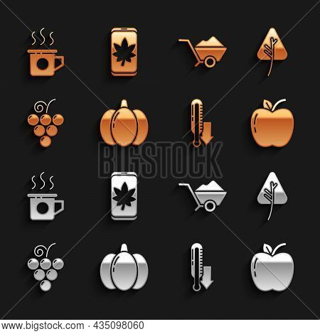Set Pumpkin, Leaf Or Leaves, Apple, Meteorology Thermometer, Grape Fruit, Wheelbarrow With Dirt, Cup