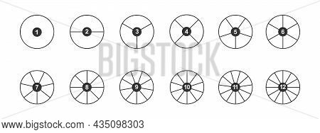 Circles Divided In Segments With Numbers From 1 To 12. Outline Round Shapes Cut In Equal Parts. Simp