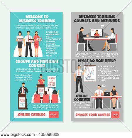 Business Training Vertical Banners With Presentation Of Different Types Of Learning And Teaching Str