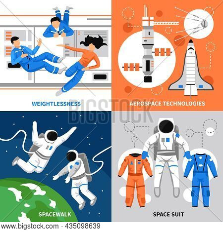 Astronauts In Space And Aerospace Technologies 2x2 Design Concept On Colorful Backgrounds Flat Isola