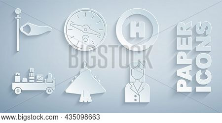 Set Jet Fighter, Helicopter Landing Pad, Airport Luggage Towing Truck, Stewardess, Compass And Cone