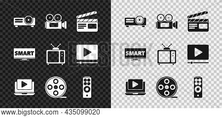 Set Movie, Film, Media Projector, Cinema Camera, Clapper, Online Play Video, Film Reel, Remote Contr