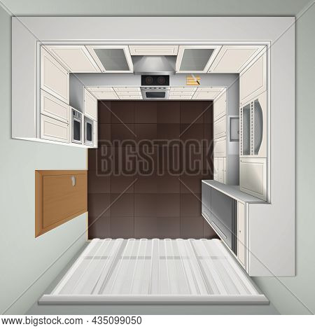 Modern Luxury Kitchen With White Cabinets Built-in Cooker And Refrigerator Top View Realistic Image