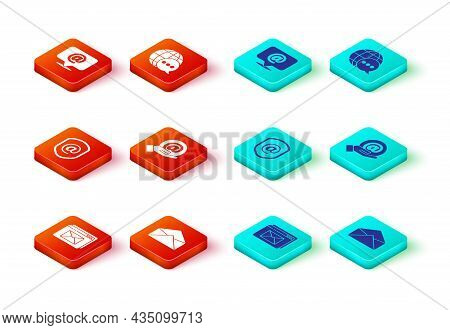 Set Website And Envelope, Envelope, Shield With Mail E-mail, Mail In Hand, World Map Made From Speec