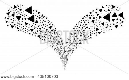 Rounded Triangle Double Fireworks Salute. Rounded Triangle Stream Twice Fountain. Object Fountain Is