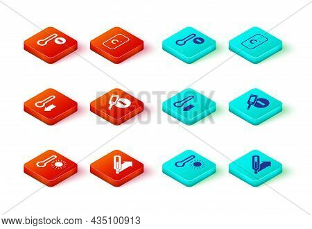 Set Meteorology Thermometer, Medical, Digital, Celsius And Icon. Vector