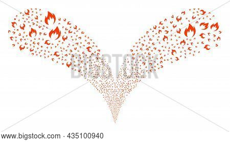 Fire Flame Double Fireworks Salute. Fire Flame Burst Double Fountain. Object Fountain Is Done From R