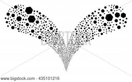Hexagon Twice Fireworks Fountain. Hexagon Stream Twice Fountain. Object Fountain Is Constructed From
