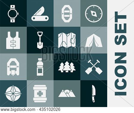 Set Knife, Paddle, Tourist Tent, Rafting Boat, Shovel, Life Jacket, Smartwatch And Location Of The F