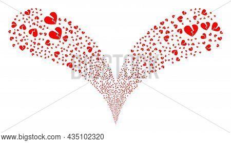 Broken Love Heart Double Fireworks Salute. Broken Love Heart Explosion Twice Fountain. Object Founta