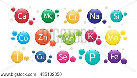 Mineral Supplement Set. Vitamin Icons. 3d Multivitamin Complex For Health. Vector Illustration Isola