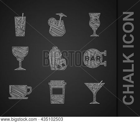 Set Cocktail Shaker, Coffee Cup To Go, Martini Glass, Street Signboard With Bar, Wine, Glass Beer An