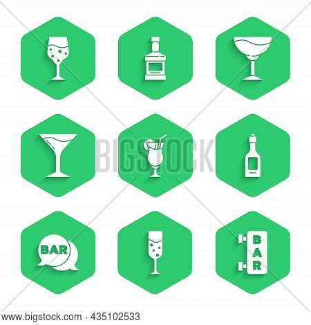 Set Cocktail, Glass Of Champagne, Street Signboard With Bar, Champagne Bottle, Martini Glass, Wine A