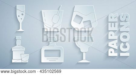 Set Whiskey Bottle, Glass Of Whiskey, And Glass, Wine, Cocktail Bloody Mary And Champagne Icon. Vect
